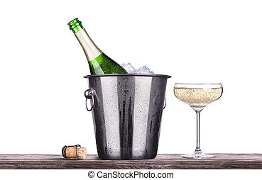 champaña, hielo, botella de vidrio, cubo