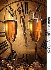 champaña, listo, a, traer, en, el, año nuevo