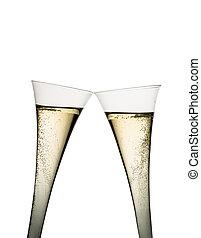 champaña, o, vino espumoso, en, vidrio champaña