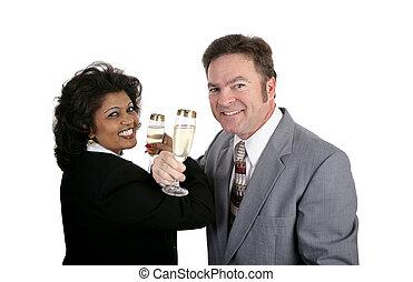 champaña, para, dos