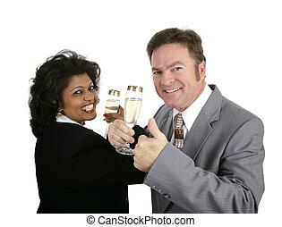 champaña, pareja, thumbsup