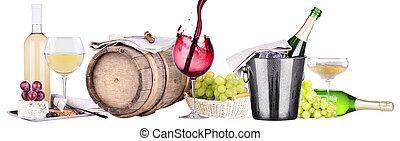 champaña, rojo y blanco, vino