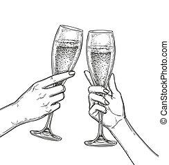 champaña., tintinear, dos manos, anteojos