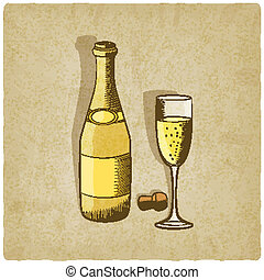 champaña, viejo, plano de fondo