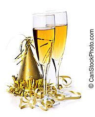 champaña, y, año nuevo, decoraciones