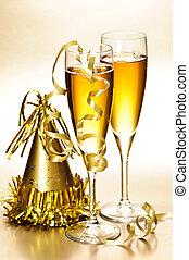 champaña, y, partido año nuevo, decoraciones