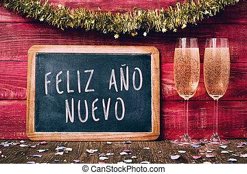 champaña, y, texto, feliz, ano, nuevo, feliz año nuevo, en, español