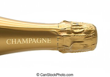 Champagne 3 - neck view of a bottle of Champagne on white...