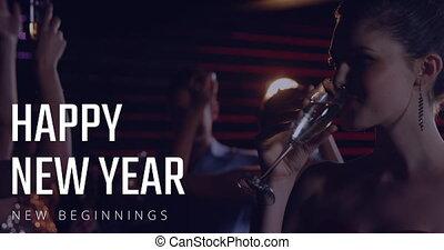 champagne, 4k, jaarwisseling, dancing, hebben, mensen, vrouw, eva