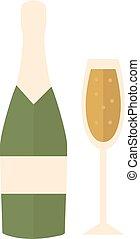 champagne, alcool, bouteille, objet, silhouette, boisson