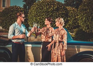 champagne, amici, ricco, classico, convertibile, bere