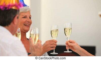 champagne, amis, retiré, boire