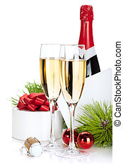 Champagne and christmas gifts