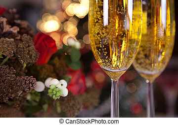 Champagne and christmas tree 1