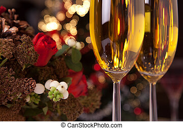 Champagne and christmas tree 2