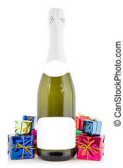 Champagne and colorful gift boxes