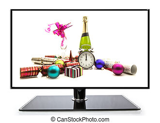 Champagne and Gifts New Year Celebration on white background TV