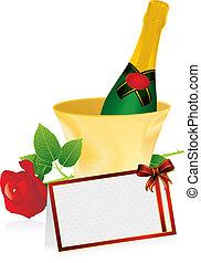 champagne and invitation card