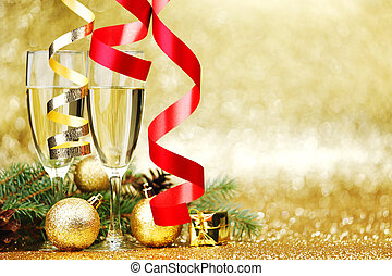 Champagne and new year decoration