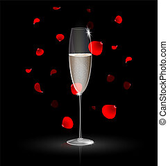 on a dark background is a glass of champagne and falling red petals