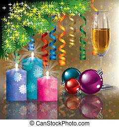 champagne, arbre, salutation, noël