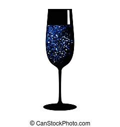 champagne blue black glass