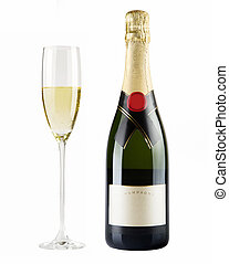 Champagne bottle and champagne glass Isolated on white...