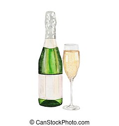 Champagne bottle and champagne glass. watercolor painting on...
