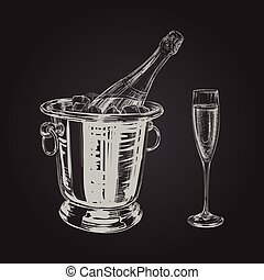 champagne bottle and glass illustration