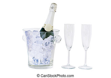 champagne bottle and glass isolated on white, clipping path included