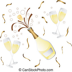champagne bottle and glass with confetti
