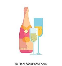 champagne bottle and glasses celebration