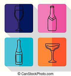 champagne bottle and glasses design