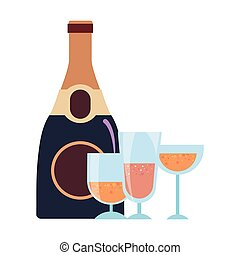 champagne bottle and glasses drink