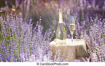 Champagne bottle and wine glass on the table. Bottle of alcohol against lavender landscape. Sunset over a summer lavender field in Provence, France