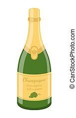 Champagne bottle, celebration bottle. Cartoon flat style. Vector illustration