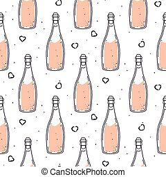 Champagne bottle celebration seamless vector pattern.