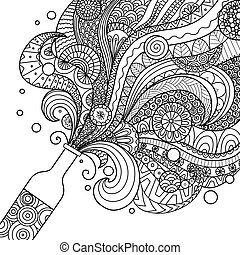 champagne bottle - Champagne bottle line art design for...