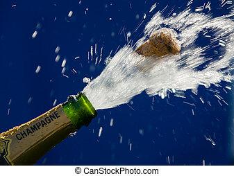 Champagne bottle - Ender corks popping open a bottle of ...