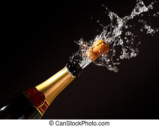 champagne bottle eruption - champagne bottle with shotting...