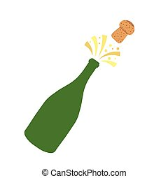 Champagne bottle explosion. Hand drawn vector illustration ...