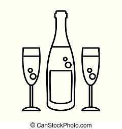 champagne bottle glasses