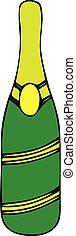Champagne bottle. Hand drawn isolated vector illustration. Alcohol bottle with bubbles. Vintage sketch. Beverage drawing for bar and restaurant menu, poster, banner. Celebration concept