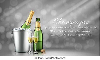 Champagne bottle in ice bucket and two full glasses