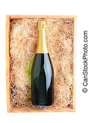 Champagne Bottle in Wood Crate