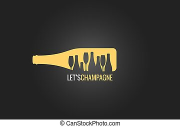 champagne bottle logo design background