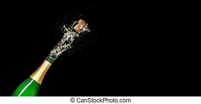 Champagne bottle on a black background with copy space