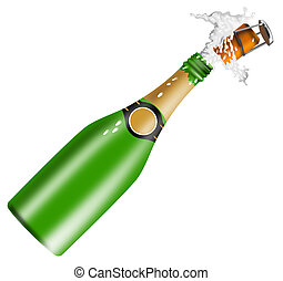 Champagne Bottle Open Lid - Illustration of champagne bottle...