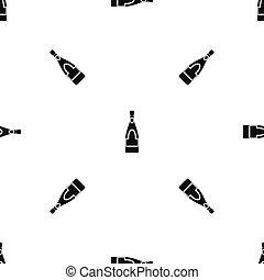 Champagne bottle pattern seamless black