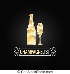 champagne bottle poly design background